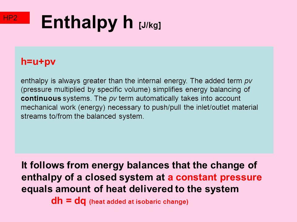 Enthalpy h [J/kg] h=u+pv